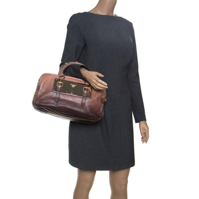 Prada Brown/Black Ombre Glace Leather Zippers Bauletto Bag In Excellent Condition For Sale In Dubai, Al Qouz 2