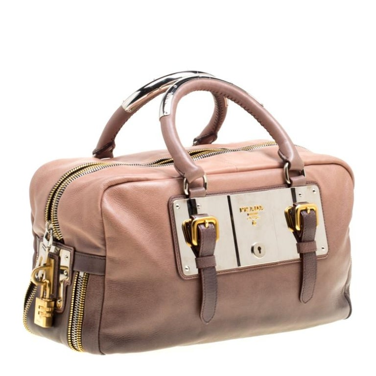 Women's Prada Brown/Black Ombre Glace Leather Zippers Bauletto Bag For Sale