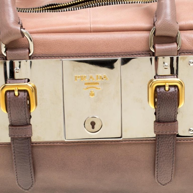 Prada Brown/Black Ombre Glace Leather Zippers Bauletto Bag For Sale 2
