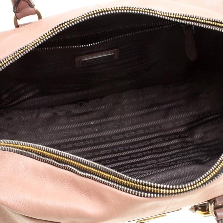 Prada Brown/Black Ombre Glace Leather Zippers Bauletto Bag For Sale 3