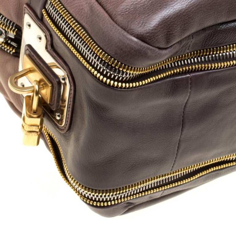 Prada Brown/Black Ombre Glace Leather Zippers Bauletto Bag For Sale 4