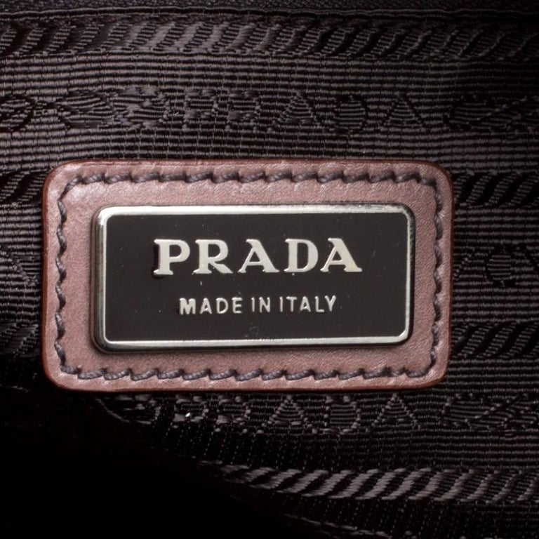 Prada Brown/Black Ombre Glace Leather Zippers Bauletto Bag For Sale 5