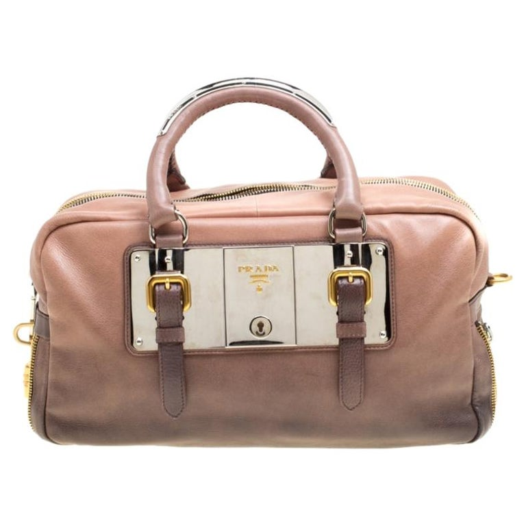 Prada Brown/Black Ombre Glace Leather Zippers Bauletto Bag For Sale