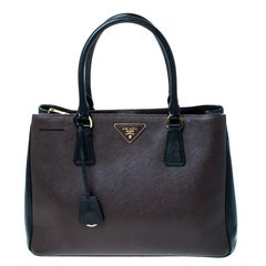 Prada Brown/Black Saffiano Lux Leather Medium Tote