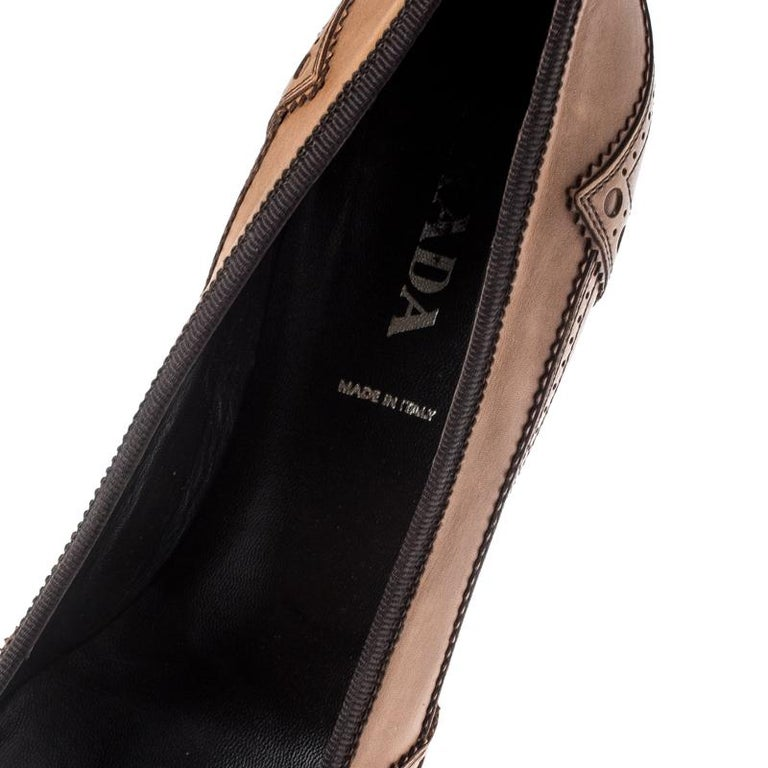 Prada Brown Brogue Leather Pointed Toe Pumps Size 38 For Sale 3