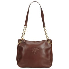 Prada Brown Calf Leather Chain Shoulder Bag Italy w/ Dust Bag