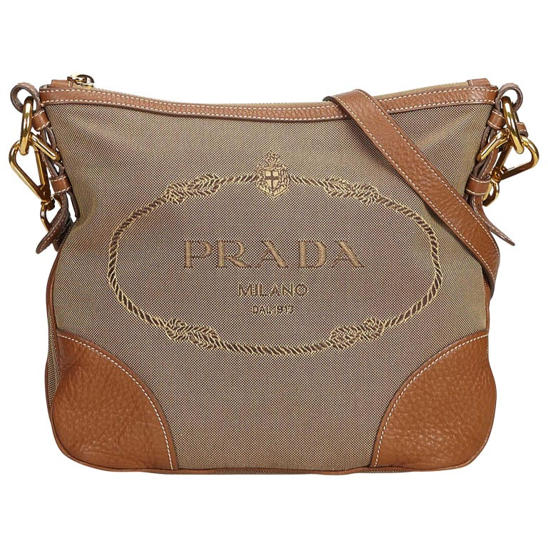 c049f545b2 Prada Brown Canapa Jacquard Crossbody Bag