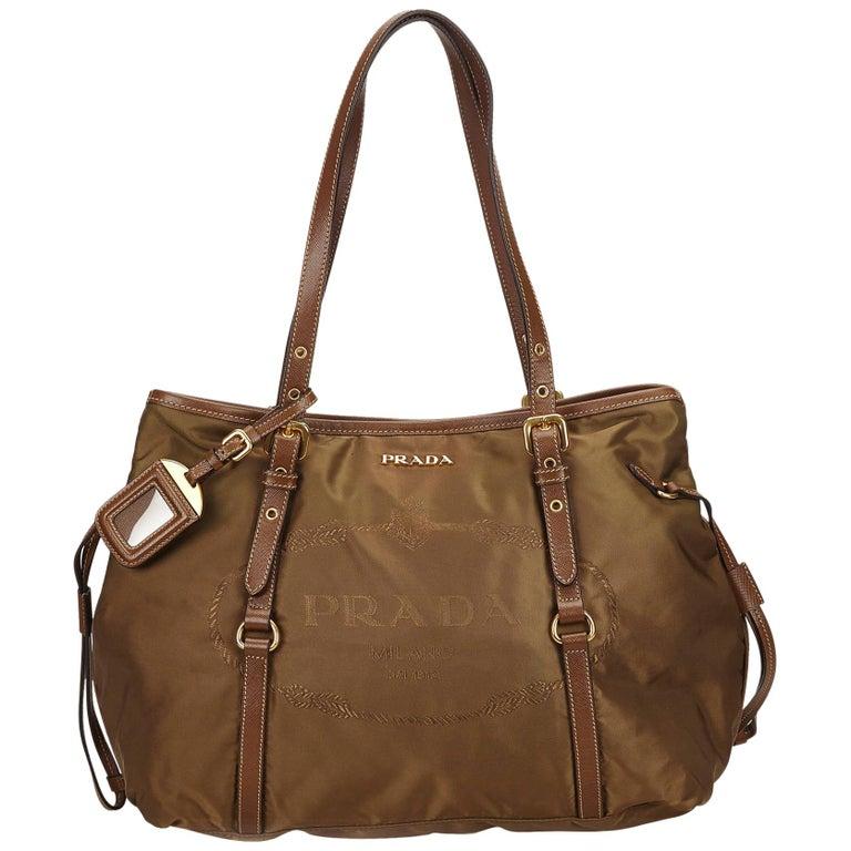 f92dd2994624 Prada Brown Canapa Nylon Drawstring Tote Bag at 1stdibs