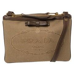 Prada Brown Canvas and Leather Crossbody Bag