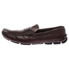 Prada Brown Croc And Leather Slip On Loafers Size 44.5