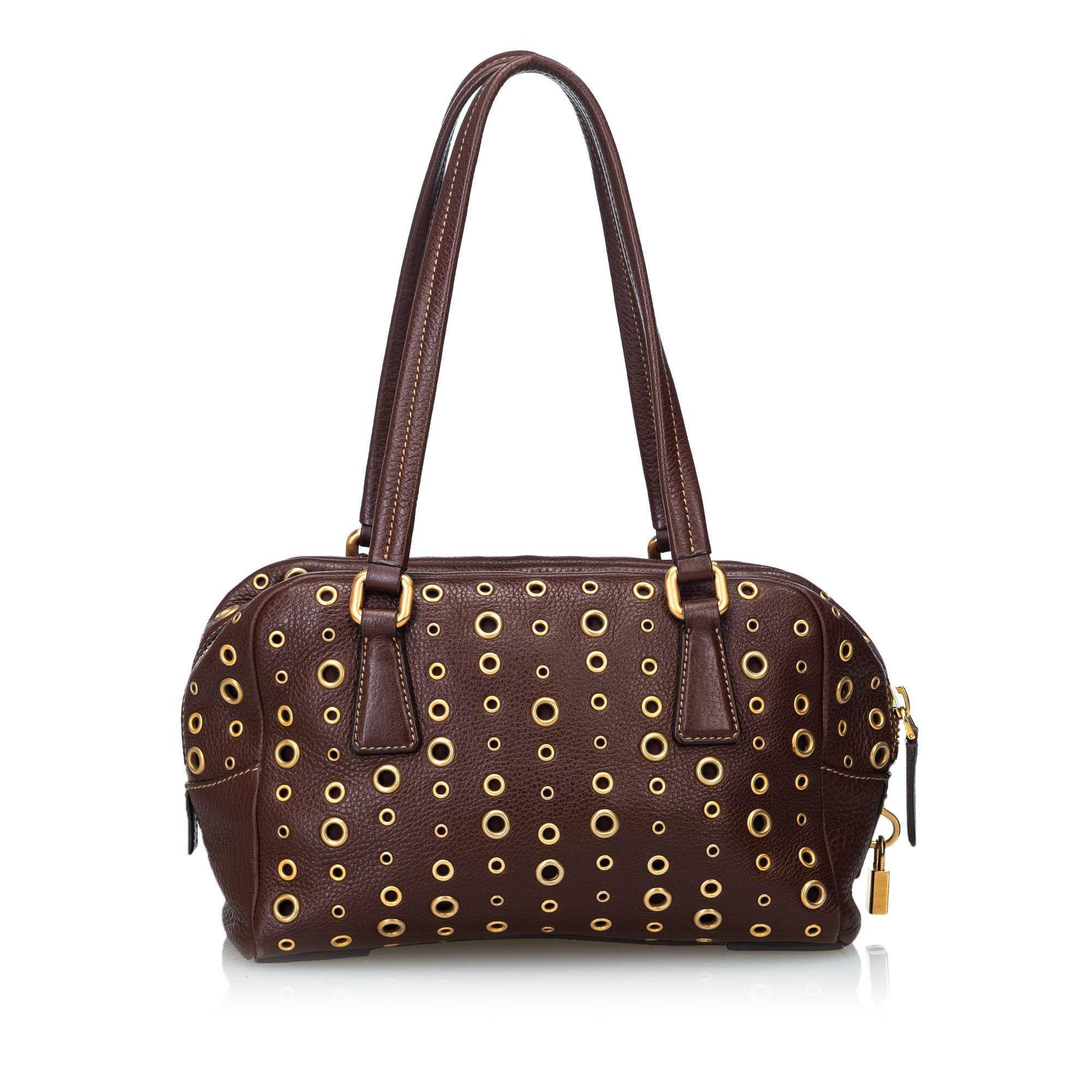 a149de20bfce Prada Brown Dark Brown Leather Grommet Shoulder Bag Italy at 1stdibs