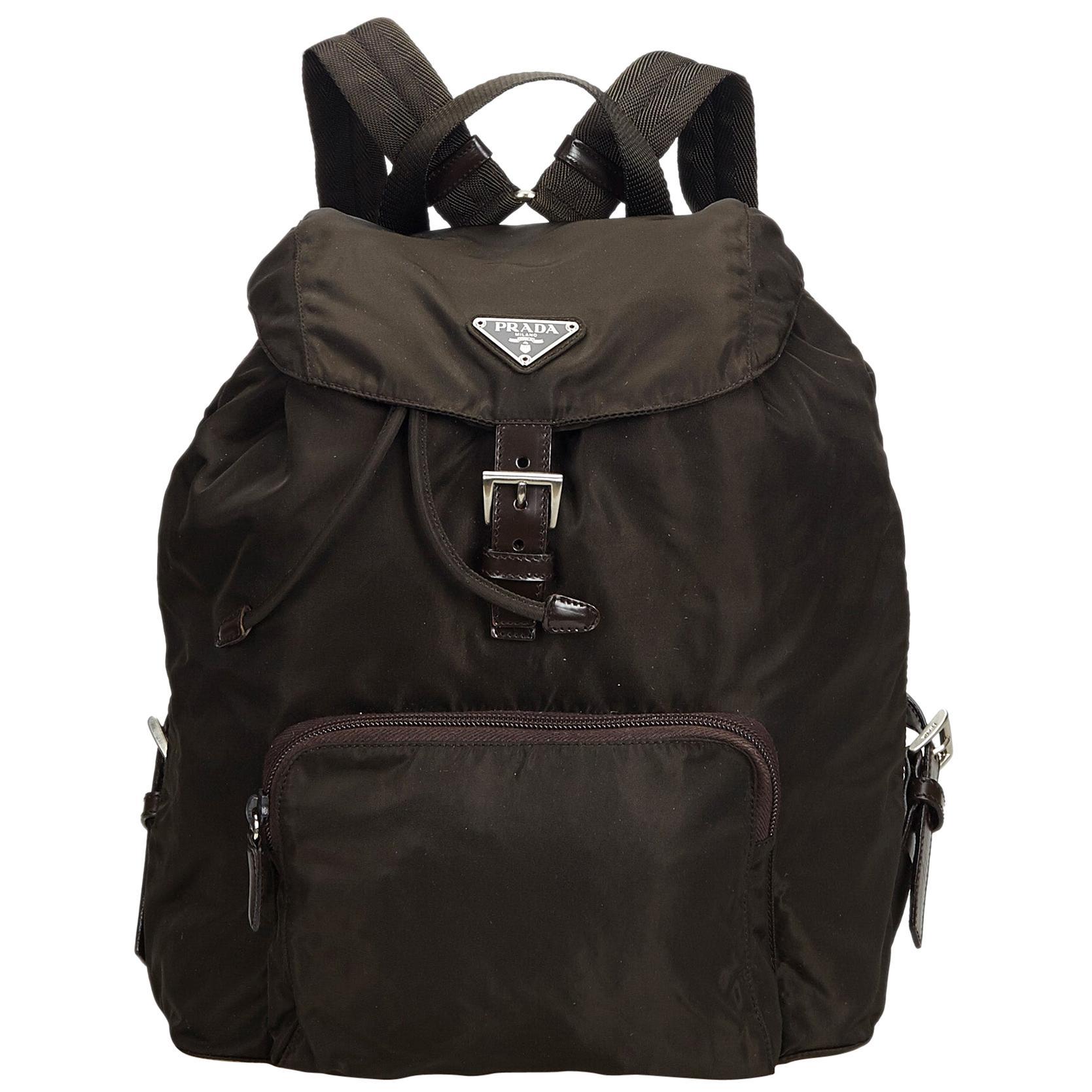f901b674ad2b Prada Black Nylon Drawstring Backpack at 1stdibs