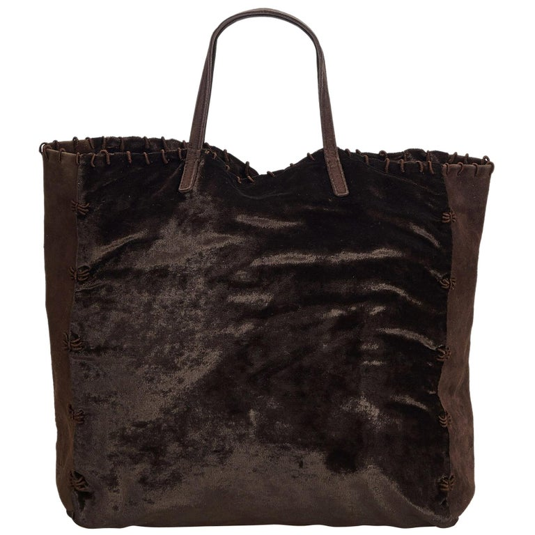 0a08e9691f90 Prada Brown Dark Brown Velour Fabric Tote Bag Italy w/ Dust Bag For Sale