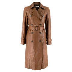 Prada Brown Double-Breasted Leather Trench Coat XXS 38