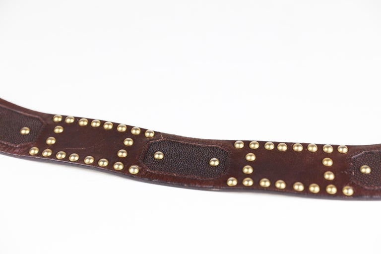 Prada Brown Eel/Alligator Skin Size 32 Leather Studded Belt with Buckle In Excellent Condition For Sale In Bridgehampton, NY