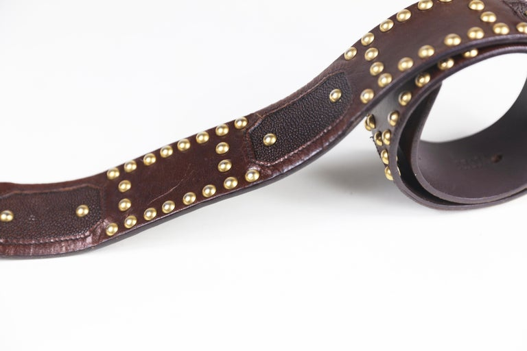 Women's Prada Brown Eel/Alligator Skin Size 32 Leather Studded Belt with Buckle For Sale