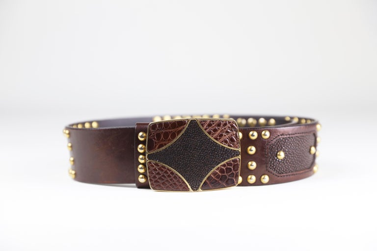Prada Brown Eel/Alligator Skin Size 32 Leather Studded Belt with Buckle For Sale 2