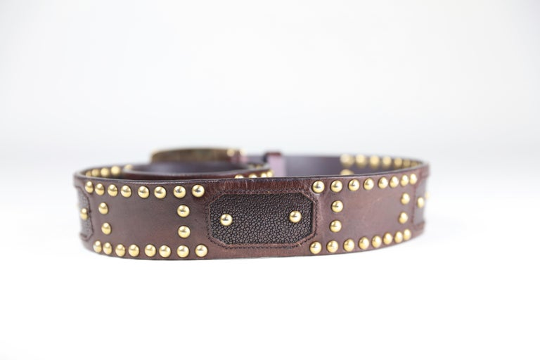 Prada Brown Eel/Alligator Skin Size 32 Leather Studded Belt with Buckle For Sale 4