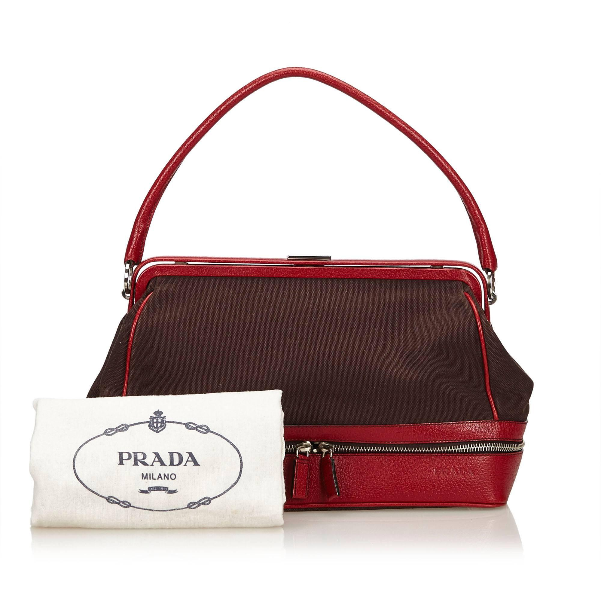 Prada Russo Red Cinghi Leather & Beige Canapa Canvas Bowler Bag W. Dust Bag vWbc4TWZ3K