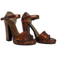 Prada Brown Faux Tortoiseshell Patent Leather High Block Heel Sandals