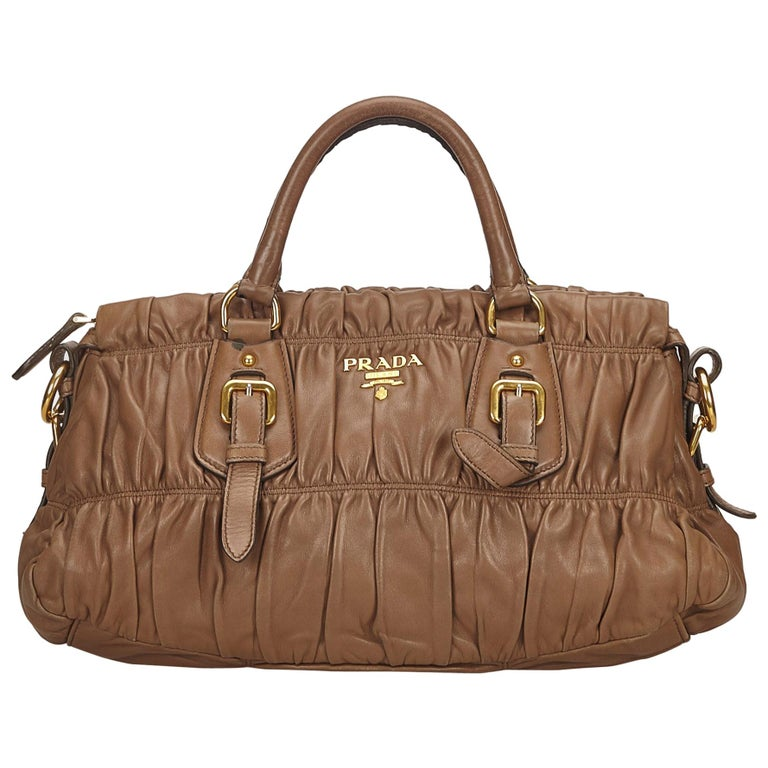 ed4ddf655739 Prada Brown Gathered Leather Handbag at 1stdibs