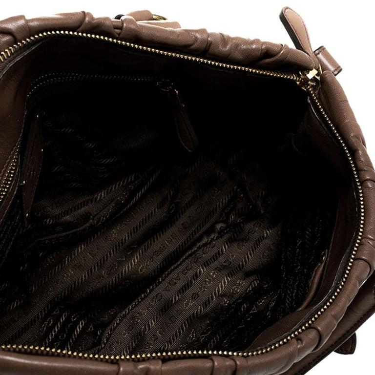 Prada Brown Gathered Leather Satchel For Sale 6