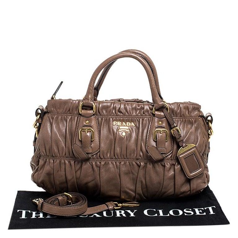 Prada Brown Gathered Leather Satchel For Sale 7