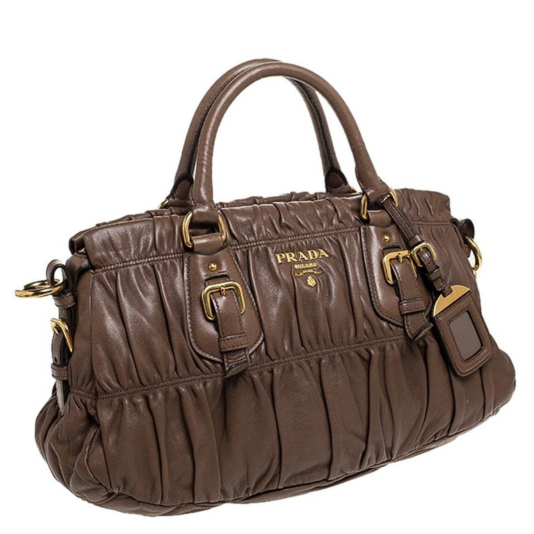 Women's Prada Brown Gathered Leather Satchel For Sale