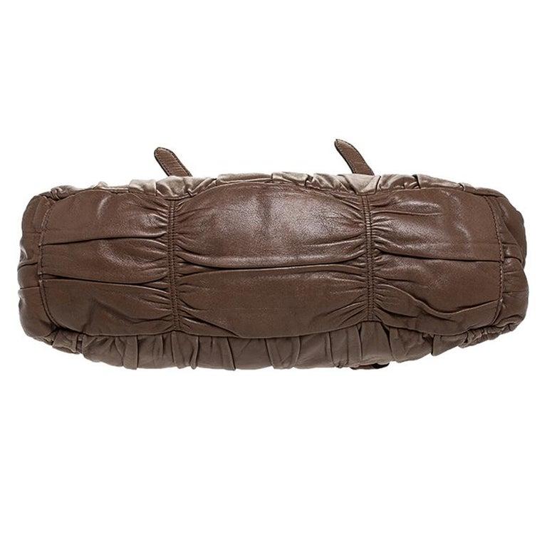 Prada Brown Gathered Leather Satchel For Sale 1