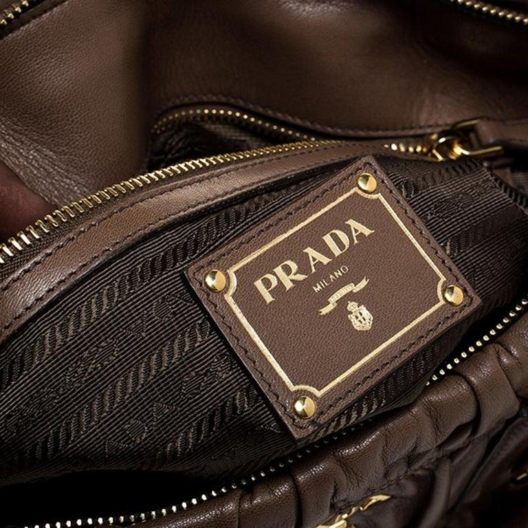 Prada Brown Gathered Leather Satchel For Sale 2