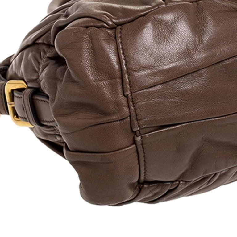 Prada Brown Gathered Leather Satchel For Sale 3