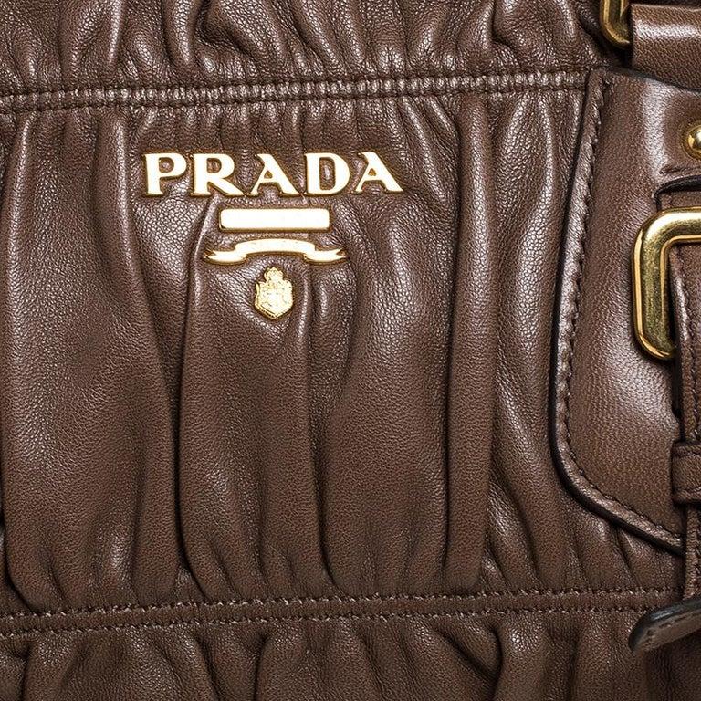 Prada Brown Gathered Leather Satchel For Sale 4