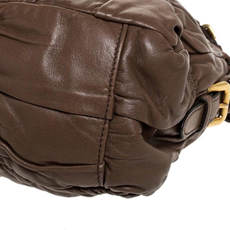 Prada Brown Gathered Leather Satchel For Sale 5