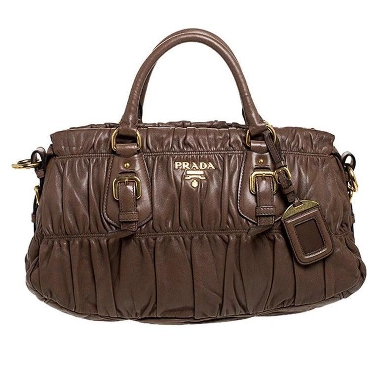 Prada Brown Gathered Leather Satchel For Sale