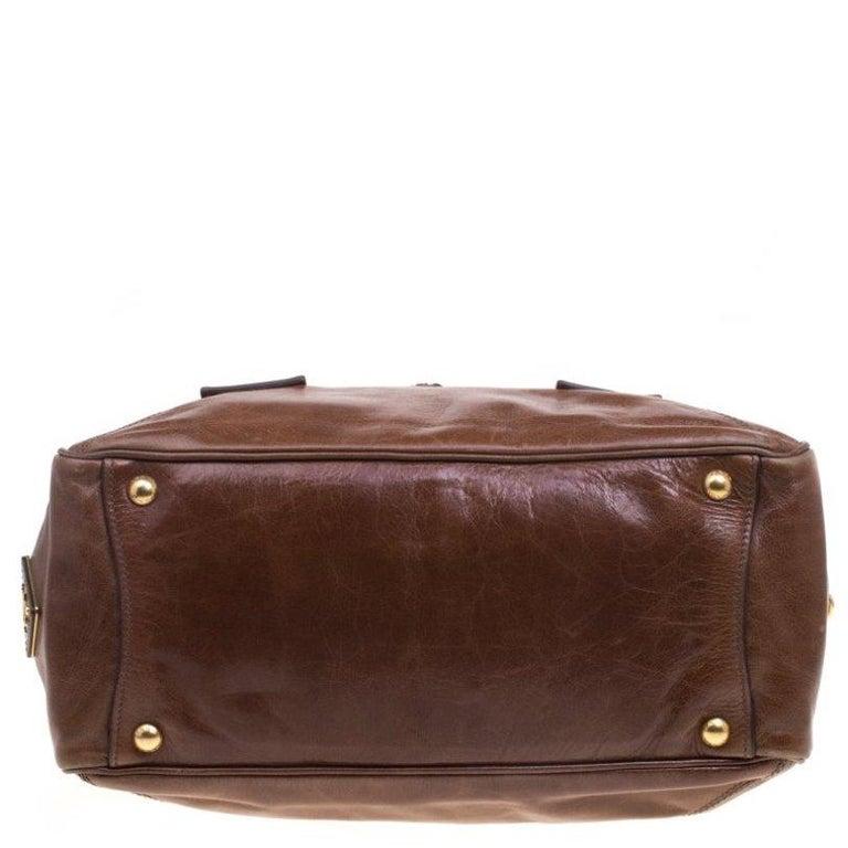 Prada Brown Glazed Leather Top Handle Bag For Sale 6