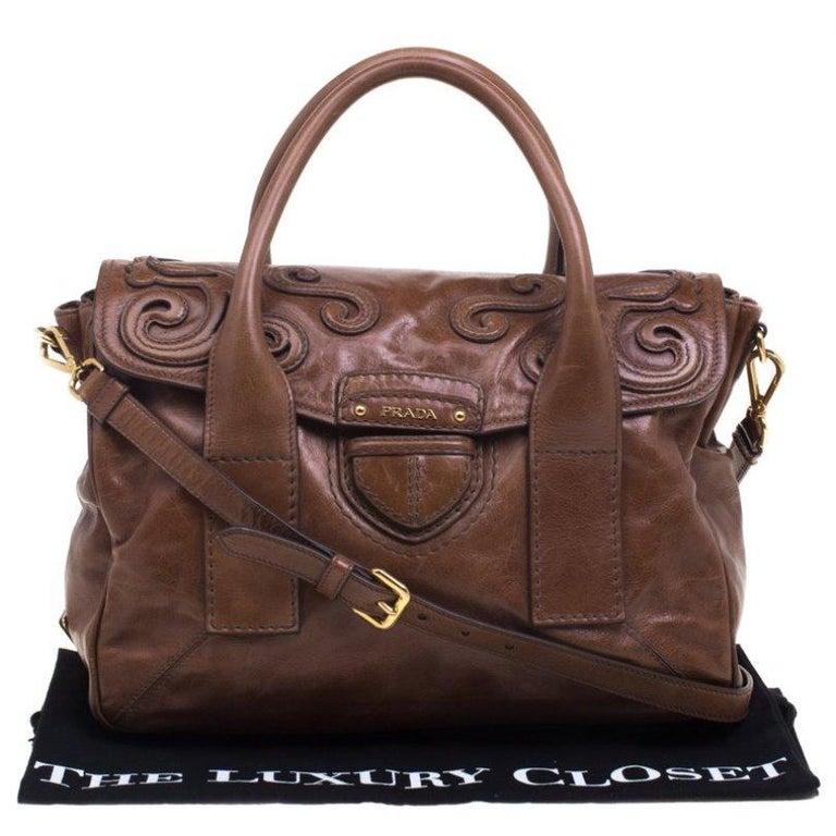 Prada Brown Glazed Leather Top Handle Bag For Sale 7