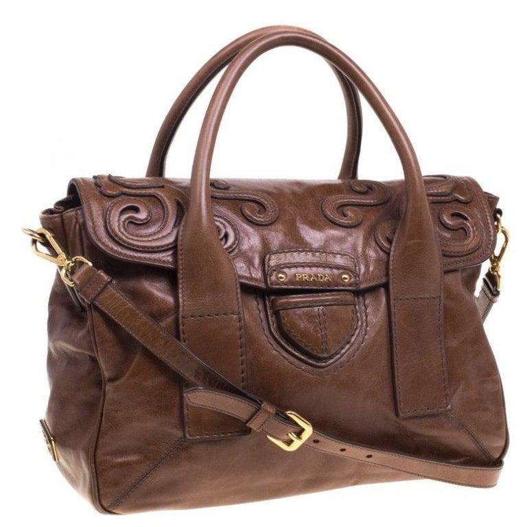 Women's Prada Brown Glazed Leather Top Handle Bag For Sale