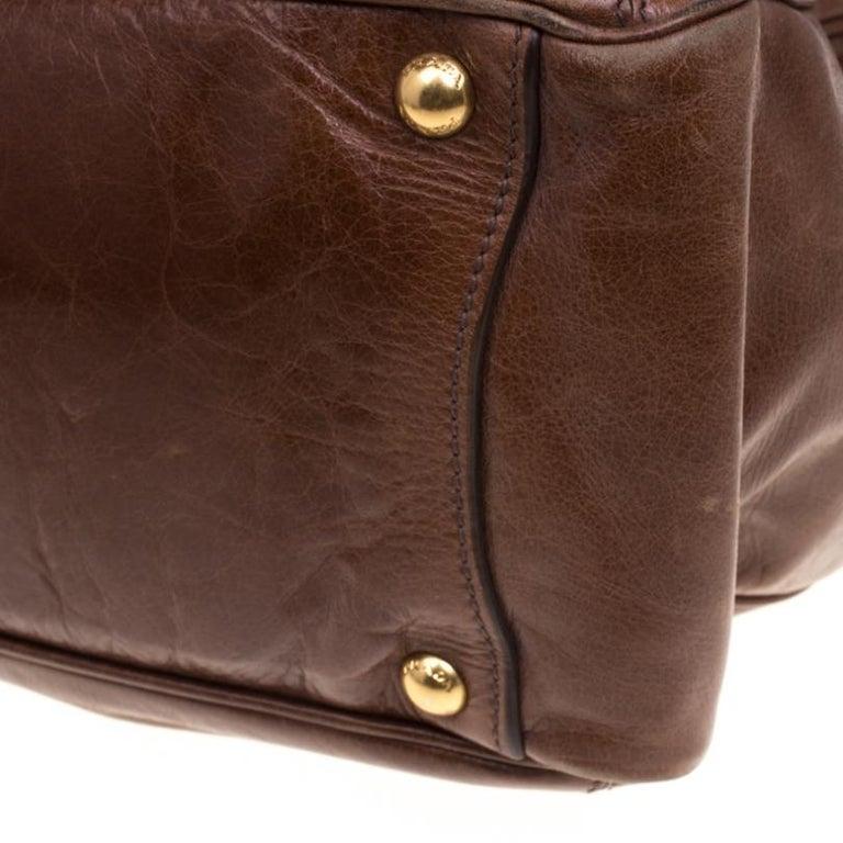 Prada Brown Glazed Leather Top Handle Bag For Sale 1
