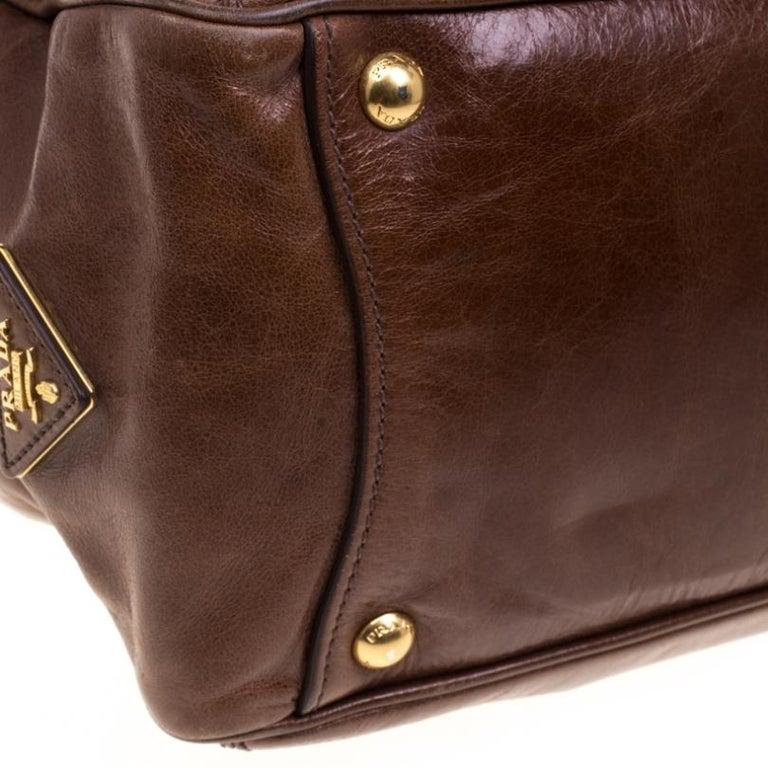 Prada Brown Glazed Leather Top Handle Bag For Sale 2