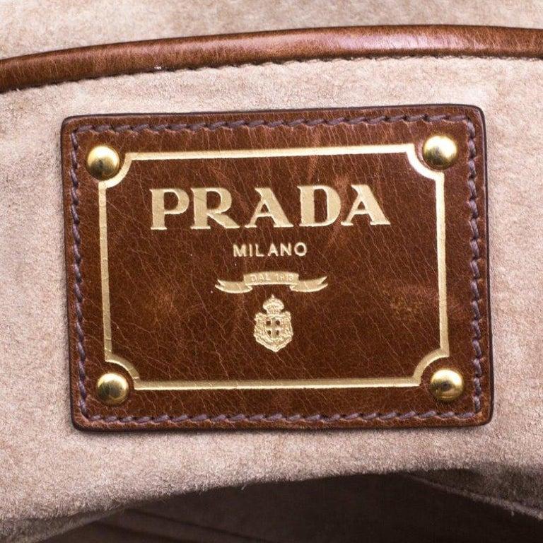 Prada Brown Glazed Leather Top Handle Bag For Sale 3