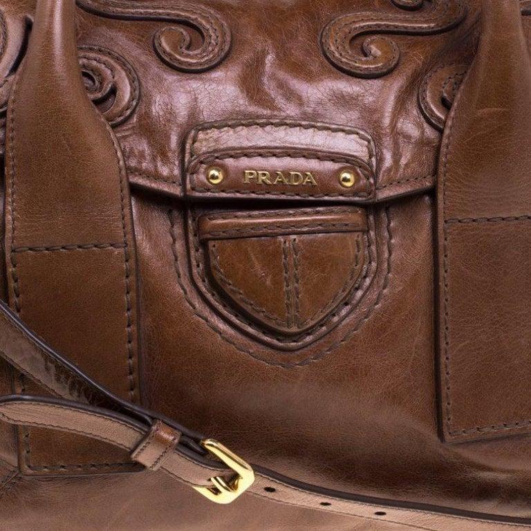 Prada Brown Glazed Leather Top Handle Bag For Sale 4