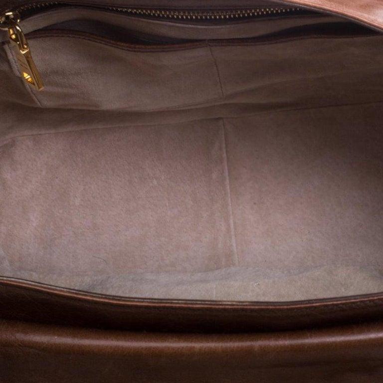 Prada Brown Glazed Leather Top Handle Bag For Sale 5