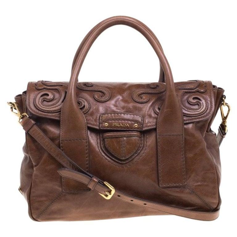 Prada Brown Glazed Leather Top Handle Bag For Sale