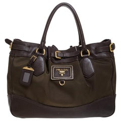 Prada Brown/Green Nylon and Leather Buckle Tote