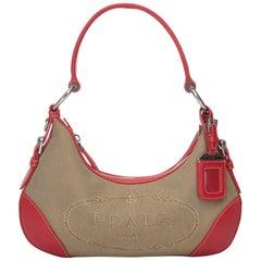 Prada Brown Jacquard Shoulder Bag