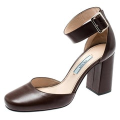Prada Brown Leather Block Heel Ankle Strap Sandals Size 36.5