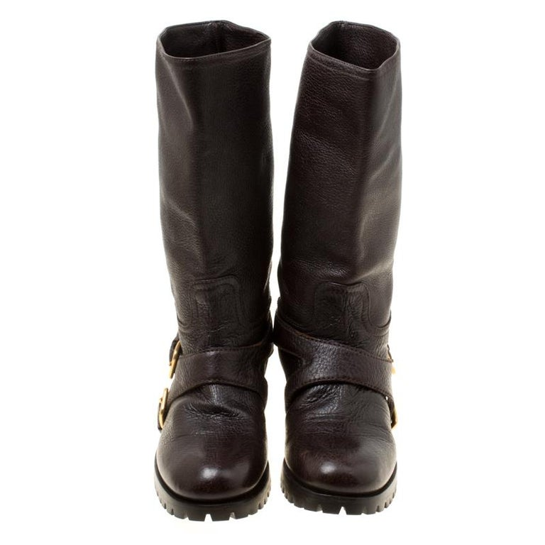 Black Prada Brown Leather Buckle Detail Calf Length Boots Size 37 For Sale