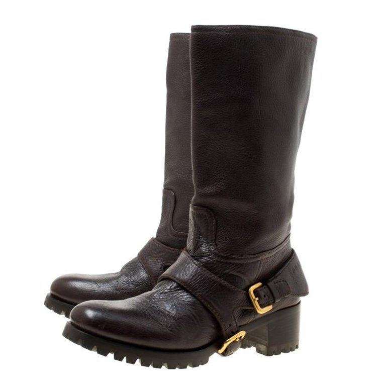 Prada Brown Leather Buckle Detail Calf Length Boots Size 37 In Good Condition For Sale In Dubai, Al Qouz 2