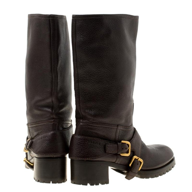 Women's Prada Brown Leather Buckle Detail Calf Length Boots Size 37 For Sale