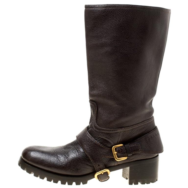 Prada Brown Leather Buckle Detail Calf Length Boots Size 37 For Sale